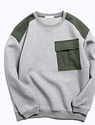 cheap -Men's Sports & Outdoor Daily Hoodie & Sweatshirt Color Block Round Neck Micro-elastic Cotton Long Sleeves Spring/Fall