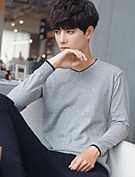 cheap -Men's Daily Casual Sexy Regular Cardigan,Solid V Neck Long Sleeves Cotton Autumn/Fall Opaque Micro-elastic