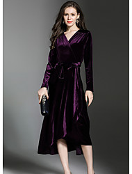 Women's Daily Wear Work Loose Dress,Solid V Neck Midi Long Sleeve Polyester Fall High Waist Stretchy Thick