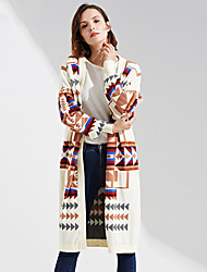 cheap -YHSP Women's Daily Going out Street chic Sophisticated Long Cardigan,Color Block U Neck Long Sleeves Polyester Winter Autumn/Fall Thick
