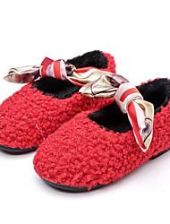 Недорогие -Девочки обувь Шерсть Зима Осень Удобная обувь Мокасины и Свитер Назначение Повседневные Черный Серый Военно-зеленный Красный