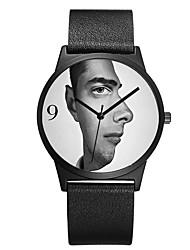 cheap -Men's Women's Fashion Watch Wrist watch Unique Creative Watch Japanese Quartz Chronograph Water Resistant / Water Proof Genuine Leather