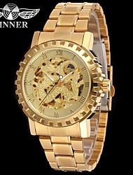 levne -WINNER Pánské mechanické hodinky Náramkové hodinky Hodinky k šatům Automatické natahování S dutým gravírováním Nerez Kapela Luxus Vintage