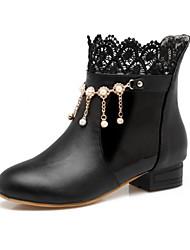 abordables -Mujer Zapatos PU Invierno Otoño Confort Innovador Botas Plano Dedo redondo Botines/Hasta el Tobillo Aplique Perla Remache Para Blanco