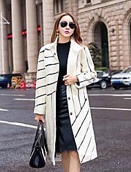 cheap -Women's Daily Sophisticated Winter Fall Coat,Color Block Long Sleeves Long Lamb Fur