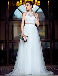 cheap -Two Piece Jewel Neck Court Train Tulle Over Lace Made-To-Measure Wedding Dresses with Appliques / Lace by LAN TING BRIDE® / Open Back