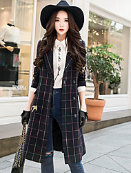 cheap -DABUWAWA Women's Daily Going out Simple Vintage Casual Winter Coat,Plaid Vintage Peak Long Sleeves Long Wool Rayon Acrylic Polyester Vintage Style