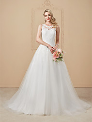 cheap -A-Line Princess Jewel Neck Court Train Lace Tulle Wedding Dress with Appliques Button by LAN TING BRIDE®
