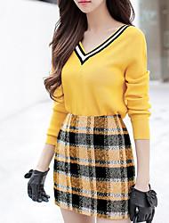 Для женщин На выход На каждый день Простой Винтаж Обычный Пуловер Однотонный Контрастных цветов Винтаж,V-образный вырез Длинный рукав