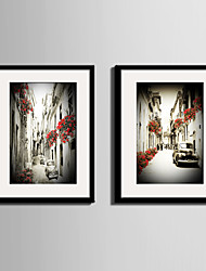 cheap -Architecture Landscape Vintage Framed Canvas Framed Set Wall Art,PVC Material With Frame For Home Decoration Frame Art Living Room