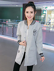 Women's Daily Hoodie Jacket Striped Cotton Polyester