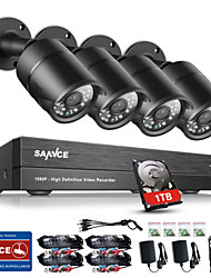 cheap -SANNCE® 8CH CCTV Security System Onvif 1080P AHD/TVI/CVI/CVBS/IP 5-in-1 DVR with 4*2.0MP Cameras with 1TB HDD
