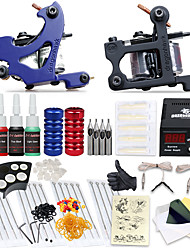 cheap -Tattoo Machine Starter Kit 2 cast iron machine liner & shader High Quality LCD power supply 2 x stainless steel grip 20 pcs Tattoo Needles