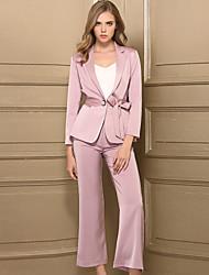 Dámské Jednobarevné Práce Jednoduchý Sada Kalhoty Obleky Polyester Dlouhý rukáv
