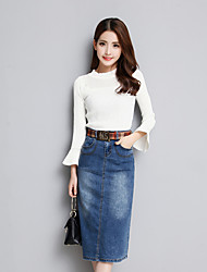 cheap -Women's Daily Midi Skirts,Casual Bodycon Cotton Solid Spring/Fall