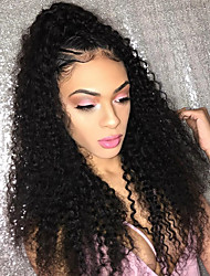 cheap -Women Human Hair Lace Wig Brazilian Human Hair Glueless Lace Front 150% Density With Baby Hair Kinky Curly Wig Black Short Medium Length