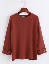 preiswerte -Damen Standard Pullover-Alltag Freizeit Solide Rundhalsausschnitt Langarm Acryl Winter Herbst Mittel Mikro-elastisch