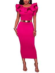 Women's Party Club Casual Sexy Bodycon Dress,Solid Round Neck Midi Sleeveless Polyester High Waist Micro-elastic Medium