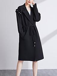 Lungo Cashmere Da donna-Casual Semplice Tinta unita Colletto Manica lunga Cotone Inverno Medio spessore Anelastico