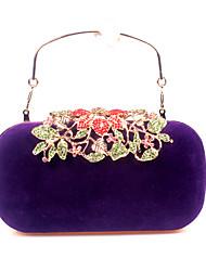 economico -Donna Sacchetti Velluto Pochette Dettagli con cristalli per Matrimonio Serata/evento Tutte le stagioni Rosso Viola Fucsia Vino Royal Blue