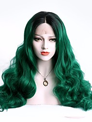 cheap -Synthetic Hair Wigs Body Wave With Baby Hair Lace Front Party Wig Natural Wigs Cosplay Wig Long Green