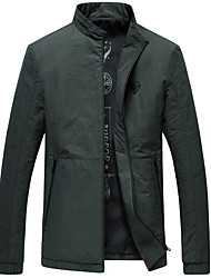 Men's Daily Simple Casual Fall Jackets,Solid Stand Long Sleeves Regular Cotton Nylon