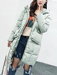 Lungo Imbottito Da donna,Cappotto Moda città Per uscire Casual Tinta unita Cotone Polipropilene Manica lunga