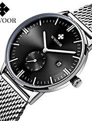 preiswerte -WWOOR Herrn Armbanduhren für den Alltag Quartz Kalender Wasserdicht Nachts leuchtend Edelstahl Band Freizeit Elegant Silber