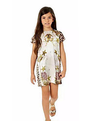 cheap -Girl's Birthday Holiday Solid Leopard Dress, Cotton Polyester Short Sleeves Cute Casual Princess White
