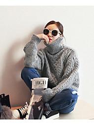 Standard Pullover Da donna-Casual Tinta unita Dolcevita Manica lunga Altro Inverno Spesso strenchy