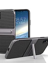 Pour iPhone X iPhone 8 Etuis coque Avec Support Coque Arrière Coque Couleur unie Dur Fibre de Carbone pour Apple iPhone X iPhone 8 Plus