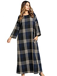 cheap -Women's Daily Tunic Dress,Plaid Round Neck Maxi Long Sleeve Linen All Season Mid Rise Inelastic Opaque