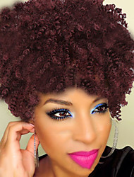 cheap -Women Red Color Medium Length Kinky Curly Synthetic Wig Natural Wigs Costume Wig
