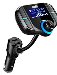 waza sans fil bluetooth mains libres 4.2 kit voiture fm transmetteur mp3 player avec double charge rapide 3.0 / 2.4a usb chargementsupport