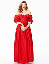 cheap -A-Line Princess Off-the-shoulder Floor Length Satin Formal Evening Dress with Pleats by TS Couture®