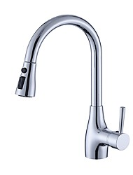 Contemporary Simple Deck Mounted Widespread Pullout Spray Pull out Chrome , Kitchen faucet