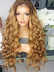 cheap -Women Human Hair Lace Wig Brazilian Remy Glueless Lace Front 180% Density With Baby Hair Loose Wave Wig Black/Medium Auburn Short Medium