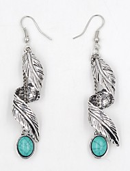 cheap -Women's Drop Earrings Turquoise Vintage Bohemian Turquoise Alloy Leaf Twist Circle Jewelry For Daily