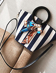 cheap -Women Bags Canvas Shoulder Bag Bow(s) Buttons for Casual All Season Blue Black