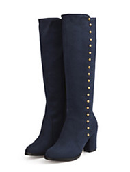 cheap -Women's Shoes Suede Fall Winter Comfort Novelty Boots Pointed Toe Knee High Boots Rivet For Office & Career Dress Burgundy Blue Black