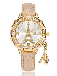 Women's Fashion Watch Chinese Quartz PU Band Casual Eiffel Tower Black White Blue Red Gold Purple Rose Sky Blue