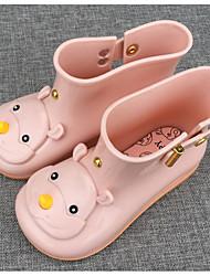 Para Meninas sapatos Pele PVC Primavera Outono Botas de Chuva Botas Para Casual Preto Roxo Azul Amêndoa