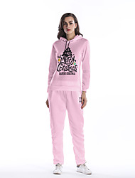 cheap -Women's Daily Holiday Street chic Winter Fall Hoodie Pant Suits,Letter Hooded Long Sleeves Polyester