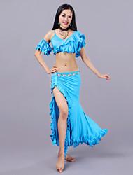 baratos -Dança do Ventre Roupa Mulheres Treino Fibra de Leite Babados em Cascata Caído Saias Blusa