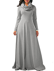 cheap -Women's Daily Going out Casual Street chic Sheath Swing Dress,Solid Turtleneck Maxi Long Sleeves Polyester Spring/Fall High Waist