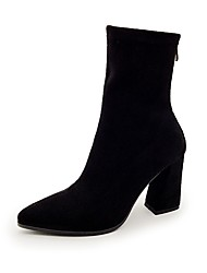 cheap -Women's Shoes Leatherette Fall Winter Fashion Boots Boots Pointed Toe Mid-Calf Boots Zipper Pom-pom For Casual Party & Evening Brown Black