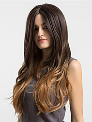 cheap -Women Synthetic Wig Capless Long Wavy Dark Brown/Medium Auburn Ombre Hair Natural Wigs Costume Wigs