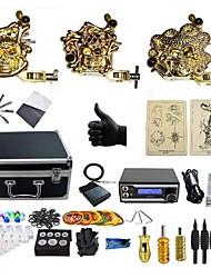 economico -BaseKey Macchina del tatuaggio Kit tatuaggio professionale, 3 pcs Macchinette per Tatuaggio - 3 x Tattoo Machine in lega per il