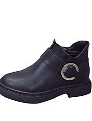 Feminino Sapatos Couro Ecológico Primavera Outono Conforto Botas Para Preto