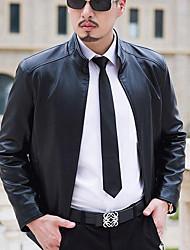 abordables -Hombre Chic de Calle Noche Casual/Diario Otoño Invierno Chaqueta de cuero,Escote Chino Un Color Manga Larga Poliuretano Regular